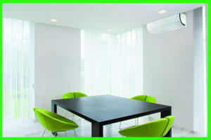 small white dining room with airconditioner